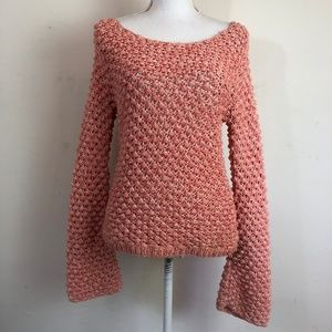 Aiko Knotted Weave Bell Sleeve Sweater Coral XS